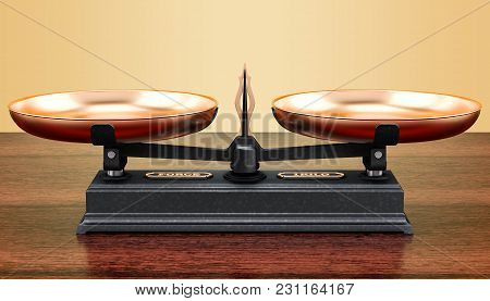 Roberval Balance, Scales On The Wooden Table. 3d Rendering