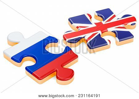 Russia And Uk Puzzles, Political Conflict Concept. 3d Rendering