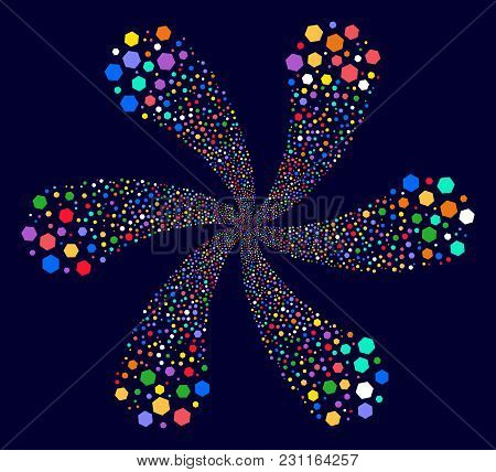 Multicolored Hexagon Figure Curl Flower With Six Petals On A Dark Background. Suggestive Vector Spir