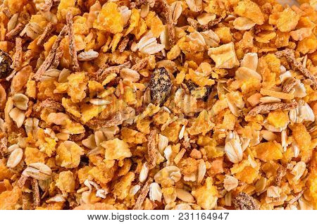 Breakfast: Texture Of Matinals Cereals, Flakes And Grains, Healthy Food Background
