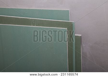 Plasterboard Or Drywall Wall In A Building During The Construction
