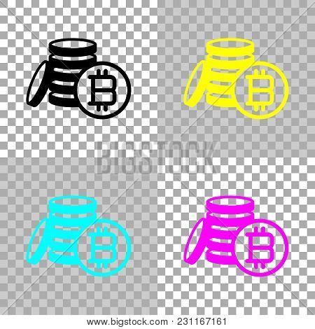Money Bitcoin. Simple Silhouette. Colored Set Of Cmyk Icons On Transparent Background