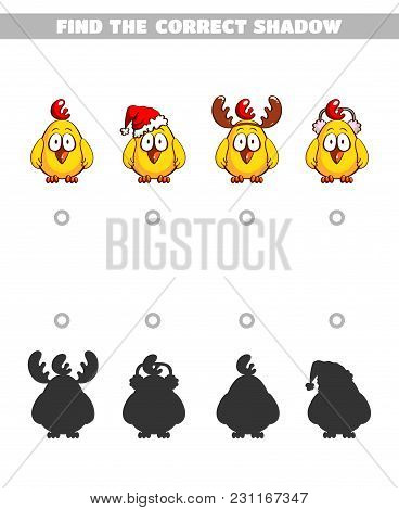 Find The Correct Shadow. Page Of Book With Game For Children. Funny Chickens. Vector Illustration