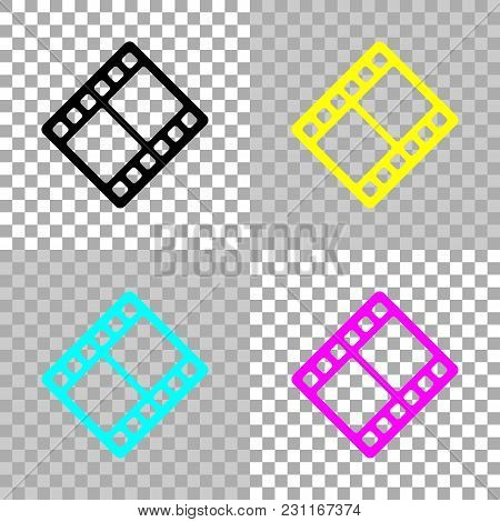 Movie Strip. Simple Silhouette. Colored Set Of Cmyk Icons On Transparent Background