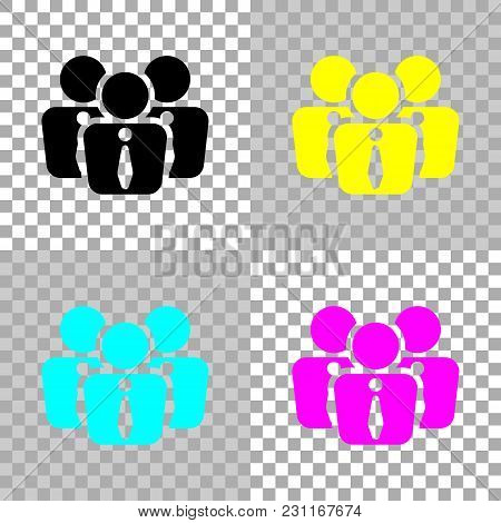 Office People, Team. Colored Set Of Cmyk Icons On Transparent Background