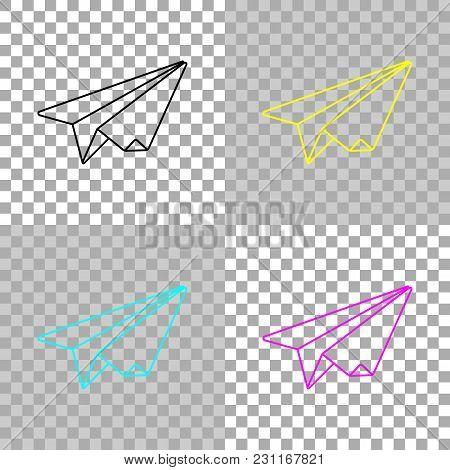 Paper Plane. Origami Glider. Colored Set Of Cmyk Icons On Transparent Background
