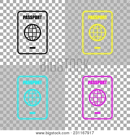 Passport, Simple Icon. Colored Set Of Cmyk Icons On Transparent Background