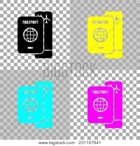 Passport, Boarding Pass. Air Travel Concept. Colored Set Of Cmyk Icons On Transparent Background