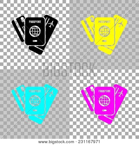 Passport, Ticket, Credit Card. Air Travel Concept. Colored Set Of Cmyk Icons On Transparent Backgrou