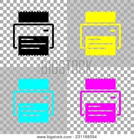 Printer, Receipt, Simple Icon. Colored Set Of Cmyk Icons On Transparent Background