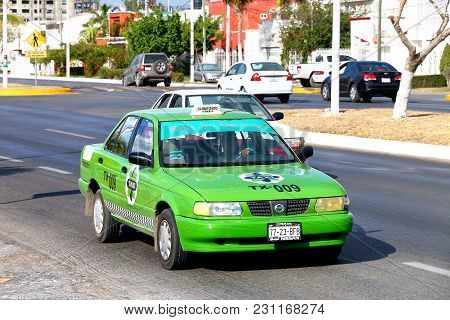 Campeche, Mexico - May 20, 2017: Taxi Car Nissan Tsuru In The City Street.