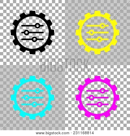 Setting Icon In Gear. Colored Set Of Cmyk Icons On Transparent Background