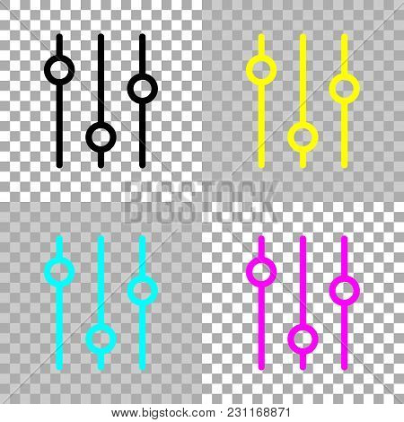 Setting. Simple Icon. Colored Set Of Cmyk Icons On Transparent Background