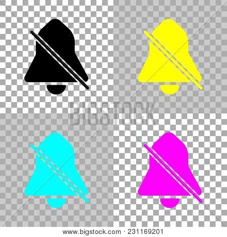 Silent Bell. Simple Icon. Colored Set Of Cmyk Icons On Transparent Background