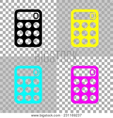 Simple Calculator Icon. Colored Set Of Cmyk Icons On Transparent Background