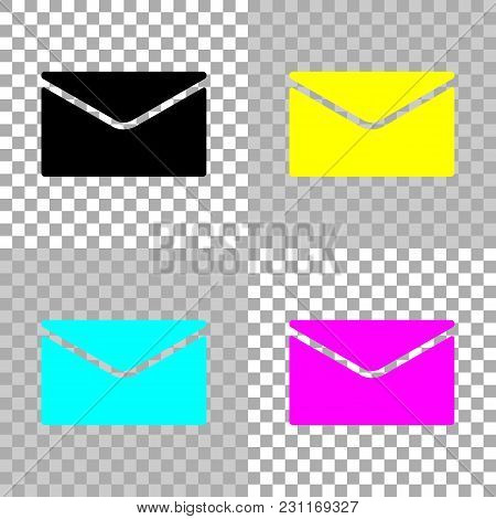 Simple Letter Icon. Colored Set Of Cmyk Icons On Transparent Background