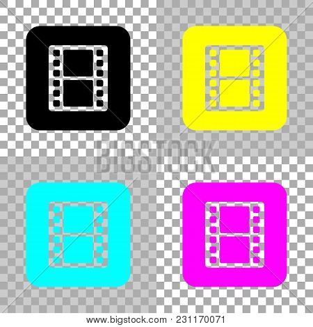 Tv With Movie Strip. Colored Set Of Cmyk Icons On Transparent Background