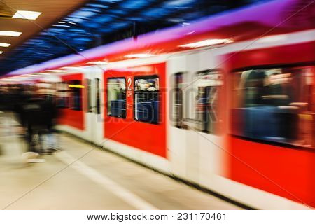Train At A Railway With Intentional Motion Blur