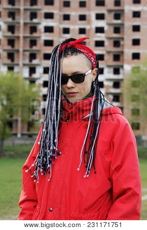 Women Hairstyle With Hair Extensions Braided In Thin Plaits And Afrobraids
