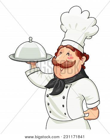Cook With Tray For Food And Lid. Food Service. Ocupation. Cartoon Character. Isolated White Backgrou