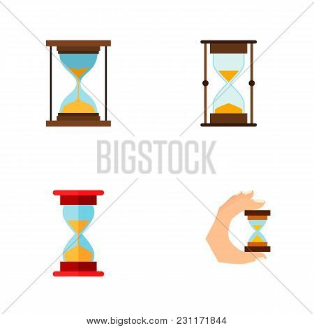 Icon Flat Timer Set Of Sandglass, Measurement, Minute Measuring Vector Objects. Also Includes Timer,