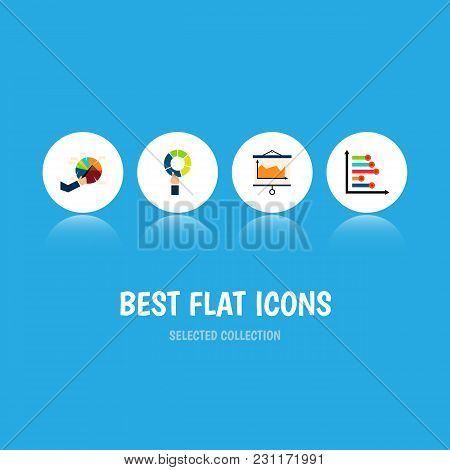 Icon Flat Graph Set Of Pie Bar, Segment, Canvas And Other Vector Objects. Also Includes Pie, Diagram