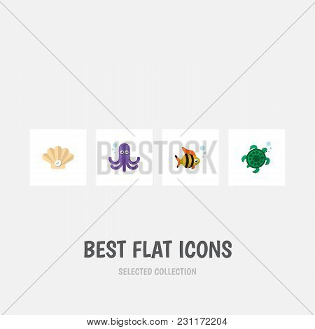 Icon Flat Sea Set Of Tuna, Octopus, Turtle And Other Vector Objects. Also Includes Tuna, Turtle, Fis