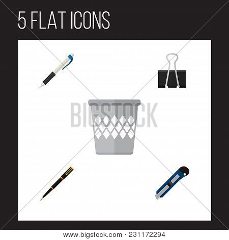 Icon Flat Equipment Set Of Pen, Pushpin, Cutter And Other Vector Objects. Also Includes Pen, Nib, Wr