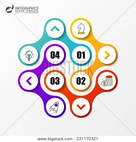 Infographic Design Template With 4 Steps. Vector Illustration