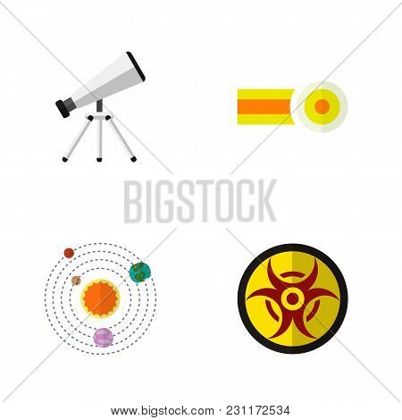 Icon Flat Study Set Of Oxygen, Telescope, Solar System And Other Vector Objects. Also Includes Risk,