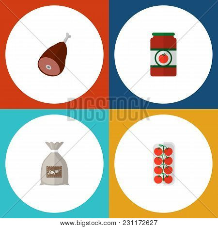 Icon Flat Meal Set Of Sugar Bag, Love Apple, Ham And Other Vector Objects. Also Includes Tomato, Lov
