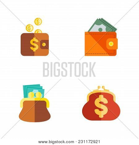 Icon Flat Purse Set Of Payment, Billfold, Pouch And Other Vector Objects. Also Includes Money, Pouch
