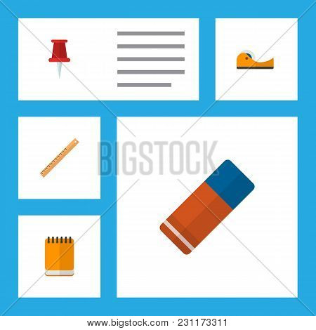 Icon Flat Equipment Set Of Notepad, Eraser, Ruler And Other Vector Objects. Also Includes Sticky, Pa