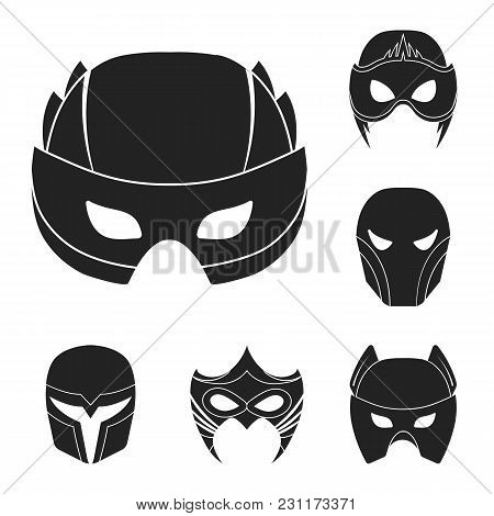 Carnival Mask Black Icons In Set Collection For Design.mask On The Eyes And Face Vector Symbol Stock