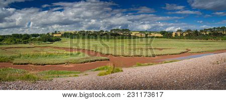 Panorama Of A Picturesque Place On The Shore Of An English Channel - Budleigh Salterton. Sunny Summe