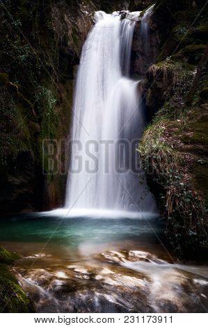 Pozza Del Diavolo Waterfall, In The Municipality Of Monte San Giovanni In Sabina, Italy. Waterfall,