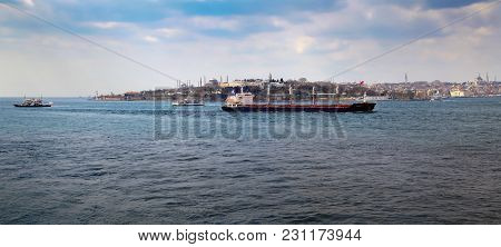 Istanbul, Turkey - March 27, 2012: Bosporus. Historical Part Of The City.