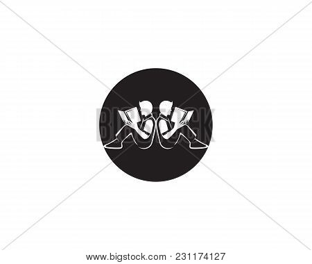 Reading Book Logo And Symbols Silhouette Illustration Black  .