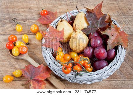 Autumn Still Life With Various Gifts Of Nature. After Harvesting. Leaf Fall.