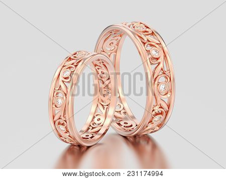 3d Illustration Two Rose Gold Matching Couples Wedding Diamond Rings Bands On A Gray Background