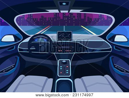 Interior View On Futuristic Self-driving Car On Road At Cityscape. Automobile On Autopilot, Automati