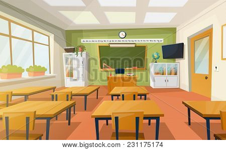 Indoor View Of School Or College Education Room. Empty Classroom For Teaching Or Learning, Lessons I
