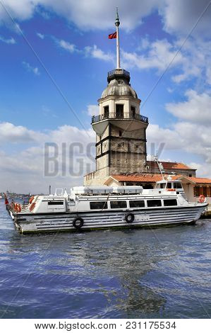 Istanbul, Turkey - March 27, 2012: The Maiden's Tower On The Islet.