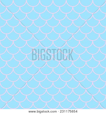 Vector Illustration Texture Of Scales On Mermaid Tail Or Fish, Seamless Pattern Of Scales In Pink Co