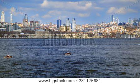 Istanbul, Turkey - March 27, 2012: The Bosporus. European Part Of The City.