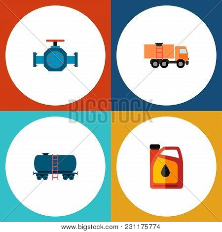 Icon Flat Petrol Set Of Tanker, Fuel Canister, Pipe Pump Valve And Other  Objects. Also Includes Oil