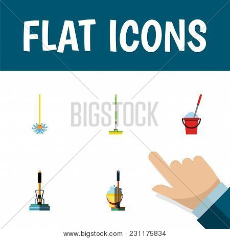 Icon Flat Mop Set Of Bucket, Broom, Equipment And Other  Objects. Also Includes Mop, Sweeper, Broom