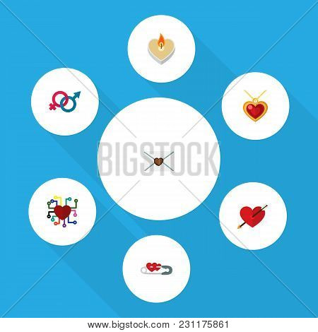 Icon Flat Amour Set Of Arrow, Gender Signs, Safety Pin And Other  Objects. Also Includes Heart, Love