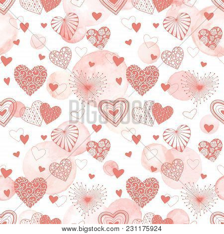 Cute Vector Hearts Seamless Background. Valentine Day Hearts Ornament With Pink Watercolor Spots On