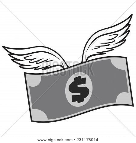 Black And White Flying Dollar - A Vector Cartoon Illustration Of A Flying Dollar Concept.